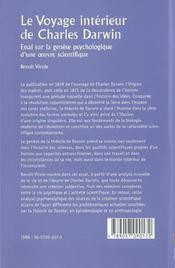 Le voyage interieur de charles darwin ; essai sur la genese psychologique d'une oeuvre scientifique - 4ème de couverture - Format classique