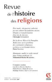Revue De L'Histoire Des Religions N.224/3 - Couverture - Format classique