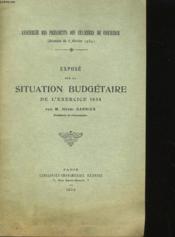 Expose Sur La Situation Budgetaire De L'Exercice 1934 - Couverture - Format classique