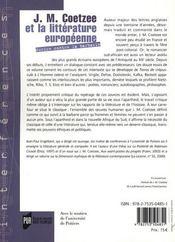 J.m. coetzee et la litterature europeenne - 4ème de couverture - Format classique