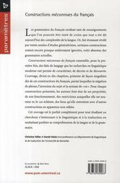 Constructions méconnues du français - 4ème de couverture - Format classique