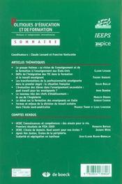 Politique D'Education Et De Formation N.5 ; Les Nouveaux Profils Des Métiers De L'Enseignement - 4ème de couverture - Format classique