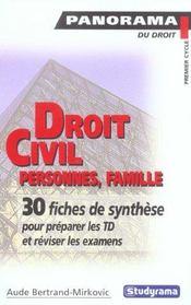 Droit civil ; personnes, familles - Intérieur - Format classique