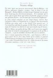 Victoire Oblige - 4ème de couverture - Format classique