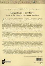 Agriculteurs et territoires - 4ème de couverture - Format classique
