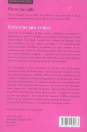 Écrits entre 1962 et 2007 - 4ème de couverture - Format classique