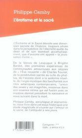 L'Erotisme Et Le Sacre - 4ème de couverture - Format classique