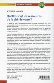 Quelles sont les ressources de la chimie verte ? - 4ème de couverture - Format classique