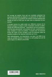 Les Epreuves De Droit Public Aux Concours Administratifs Categorie A - 4ème de couverture - Format classique