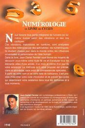 Numerologie - Le Livre Des Cycles - 4ème de couverture - Format classique