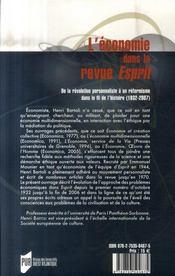 Economie dans la revue esprit - 4ème de couverture - Format classique
