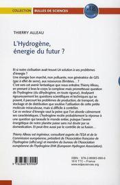 L'hydrogene, energie du futur ? - 4ème de couverture - Format classique