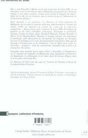 Les Demeures Du Soleil ; Louis Xiv, Louvois Et La Surintendance Des Batiments Du Roi - 4ème de couverture - Format classique