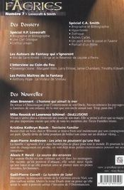 Faeries 7 Special Lovecraft/Smith - 4ème de couverture - Format classique