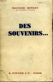 Des Souvenirs. - Couverture - Format classique