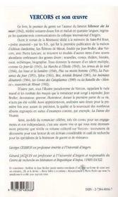 Vercors et son oeuvre - 4ème de couverture - Format classique