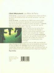 L'Anti-Monument ; Les Mots De Paris ; Jochen Gerz - 4ème de couverture - Format classique