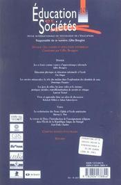 Revue Education Et Societes N.10 ; Jeu, Loisirs Et Education Informelle - 4ème de couverture - Format classique