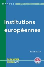 Vente  Deug et licence, iep ; INSTITUTIONS EUROPEENNES  - Harald Renout