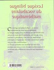 Lexique bilingue du vocabulaire mathematique anglais-francais-anglais - 4ème de couverture - Format classique