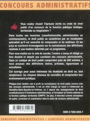 Lexique De Droit Public 500 Entrees Droit Constitutionnel Et Administratif Francais - 4ème de couverture - Format classique