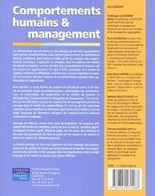 Comportement humain et management - 4ème de couverture - Format classique