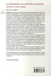La dissertation aux examens et concours ; méthode et sujets rédigés - 4ème de couverture - Format classique