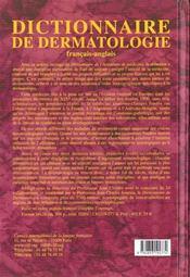 Dictionnaire de dermatologie - 4ème de couverture - Format classique