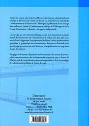 L'administration publique de la france et de l'allemagne ; présentation, glossaire - 4ème de couverture - Format classique