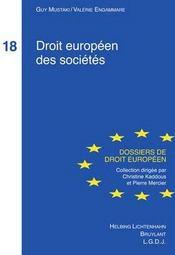 Droit européen des sociétés t.18 - Couverture - Format classique