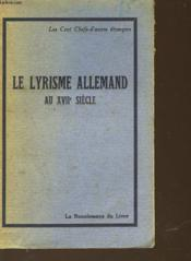 Le Lyrisme Allemand Au Xvii Siecle - Couverture - Format classique
