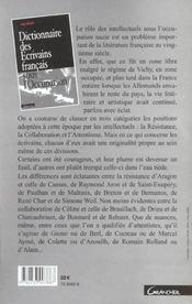 Dictionnaire Des Ecrivains Francais Sous L'Occupation - 4ème de couverture - Format classique