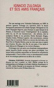 Ignacio zuloaga et ses amis français - 4ème de couverture - Format classique