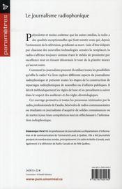 Le journalisme radiophonique - 4ème de couverture - Format classique