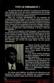 Vive Le President La Fete Africaine - 4ème de couverture - Format classique