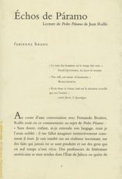 Échos de Paramo ; lecture de Juan Rulfo - Couverture - Format classique