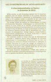 Les entrepreneurs du développement ; l'ethno-industrialation en tunisie ; la dynamique de sfax - 4ème de couverture - Format classique