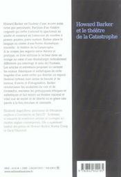 Howard Barker Et Le Theatre De La Catastrophe - 4ème de couverture - Format classique