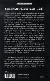 L'homosexualité dans le cinéma français - 4ème de couverture - Format classique