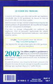 Code Du Travail 2002 - 4ème de couverture - Format classique