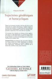 Trajectoires géodesiques et horocycliques - 4ème de couverture - Format classique