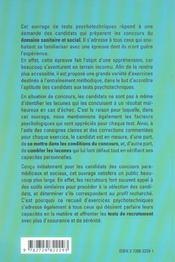 Tests Psychotechniques Infirmiere Manipulateur En Electro-Radio Psychomotricien Educateur Specialise - 4ème de couverture - Format classique