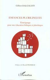 Enfances Plurilingues ; Temoignage Pour Une Education Bilingue Et Plurilingue - Intérieur - Format classique