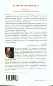 Enfances Plurilingues ; Temoignage Pour Une Education Bilingue Et Plurilingue - 4ème de couverture - Format classique