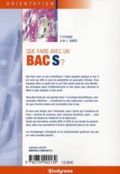 Que faire avec un bac s ? 7e edition - 4ème de couverture - Format classique