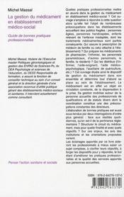 La gestion du médicament en établissement médico-social - 4ème de couverture - Format classique