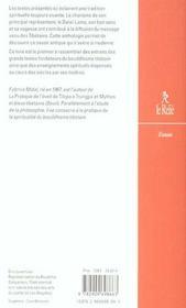 Anthologie du bouddhisme tibetain - 4ème de couverture - Format classique