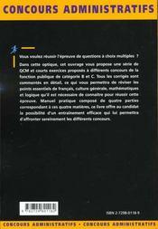 Qcm Et Exercices Francais Culture Generale Mathematiques Logique Tous Ministeres Categories B Et C - 4ème de couverture - Format classique
