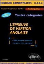 L'Epreuve De Version Anglaise Toutes Categories Tous Ministeres Concours Administratifs Daeu - Intérieur - Format classique