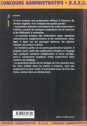 L'Epreuve De Version Anglaise Toutes Categories Tous Ministeres Concours Administratifs Daeu - 4ème de couverture - Format classique